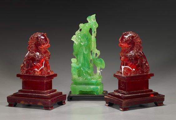 """Three Various Chinese """"Amberine"""" Items"""