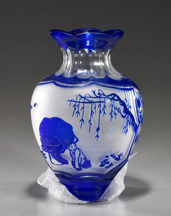 Chinese Cut Overlay Glass Vase