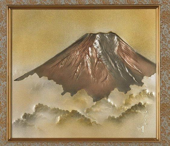 Old Japanese Metalwork Panel: Fuji