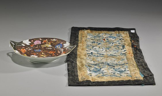 7: Antique Chinese Porcelain Dish & Silk Panel