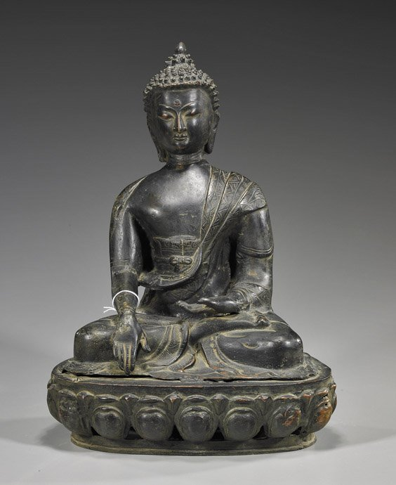 9: Probably Nepalese Seated Bronze Deity