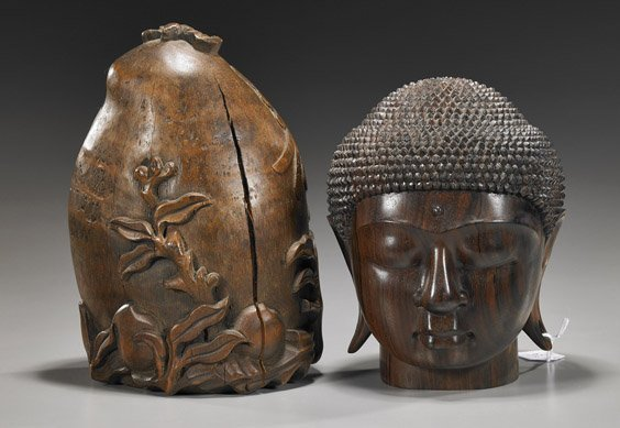 16: Two Wood Carvings: Peach & Head of Buddha
