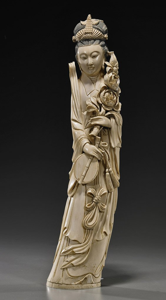406: Chinese Carved Ivory Standing Beauty