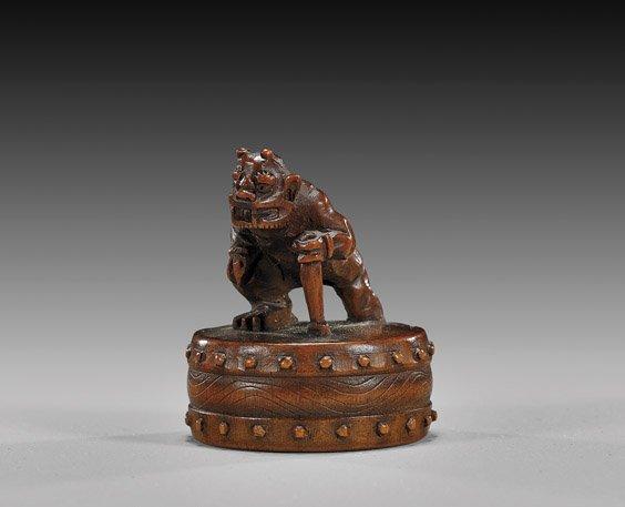 2: ANTIQUE WOOD NETSUKE: Oni & Drum