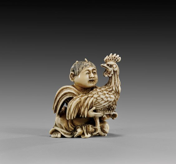 16: CARVED IVORY NETSUKE: Boy with Rooster