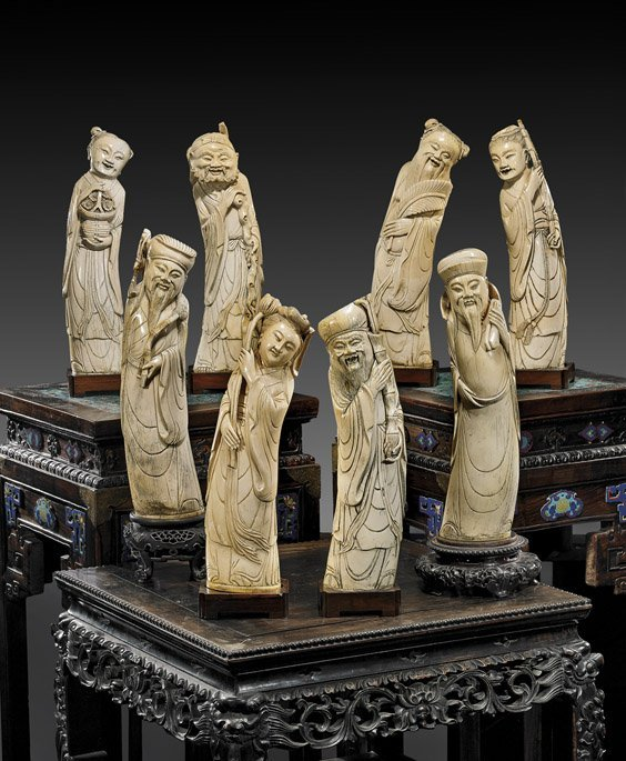 227: ANTIQUE CARVED IVORY SET OF THE EIGHT IMMORTALS
