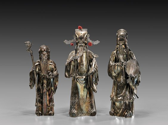 272: THREE CHINESE EXPORT SILVER FIGURES