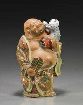 Old Japanese Satsuma Hotei Figure