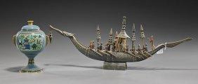 Carved Horn Boat & Cloisonn� Vessel