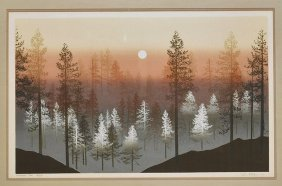 Large Framed Landscape Lithograph