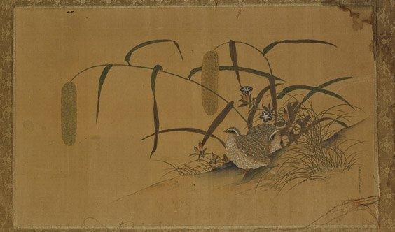Japanese Painting on Silk: Quail