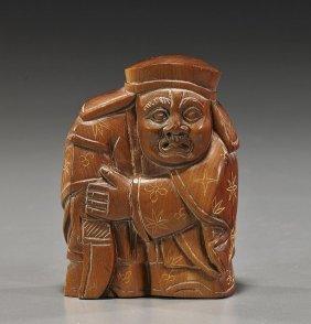 Carved Wood Okimono Figure