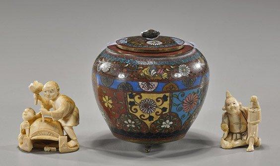 Antique Japanese Cloisonné & Two Ivories
