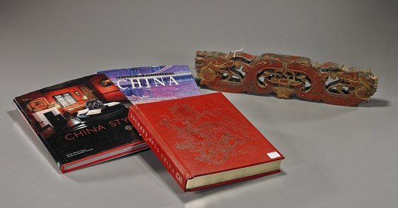 3 Chinese Art Books & Carved Wood Panel