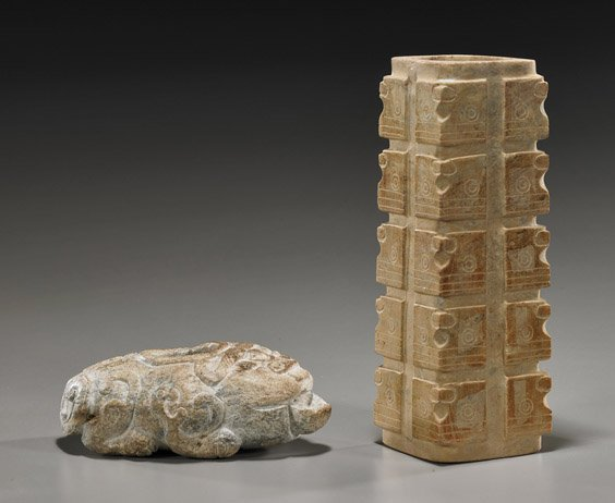 Two Chinese Archaistic Carved Hardstones