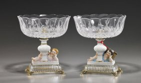 Pair Creart Glass & Porcelain Compotes