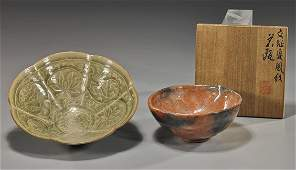 Two Asian Glazed Ceramic Bowls
