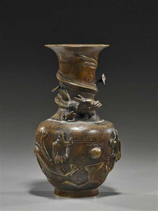 Antique Chinese Bronze Dragon Vase
