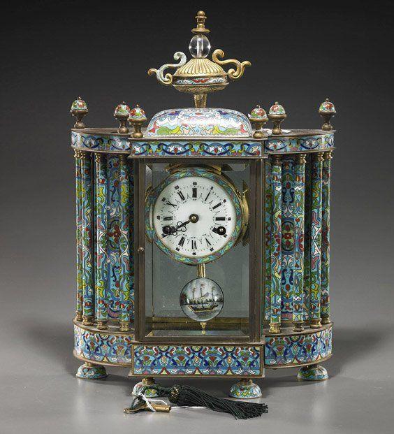 Large Chinese Cloisonné Mantle Clock