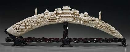 """Long Chinese Carved Ivory Tusk """"Bridge"""""""
