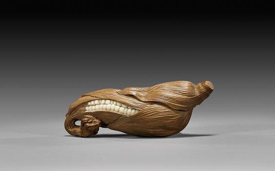 CARVED WOOD & IVORY NETSUKE: Corn Husk