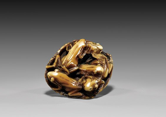 ANTIQUE AND IVORY NETSUKE: Frogs & Lotus