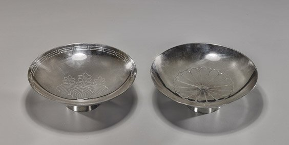 Pair of Japanese Silver Plated Compotes