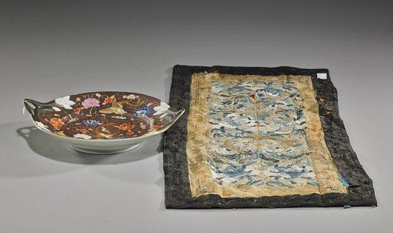 Antique Chinese Porcelain Dish & Silk Panel