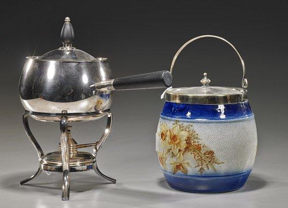 Silver Plated Pot & Antique Glazed Jar