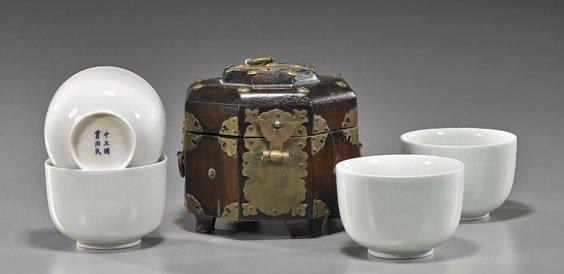 Set Porcelain Tea Cups & Octagonal Box