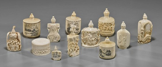 Group of Chinese Carved Ivory Snuff Bottles