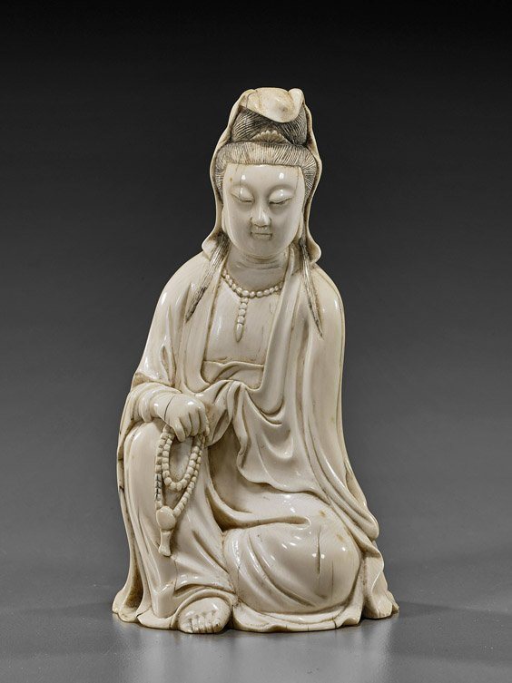 Old Chinese Carved Ivory Guanyin