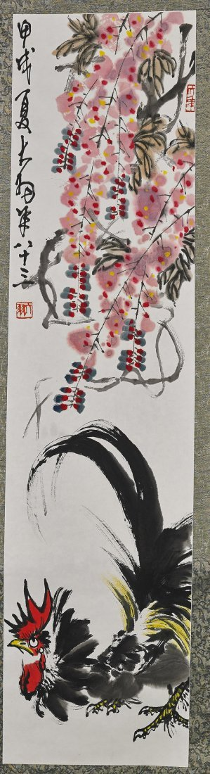 Chinese Paper Scroll: Rooster & Flowers