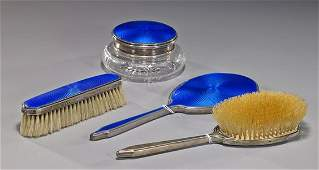Enameled Sterling Silver Dresser Set
