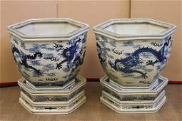 Pair Chinese Blue  White Porcelain Jardinires