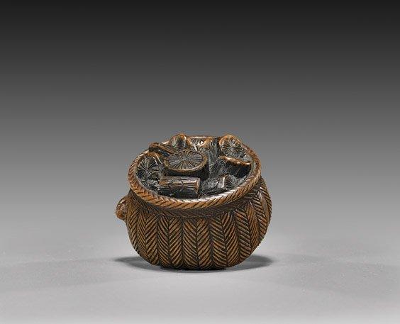ANTIQUE CARVED WOOD NETSUKE: Basket
