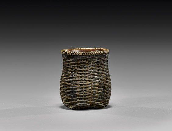 ANTIQUE CARVED NETSUKE: Basket
