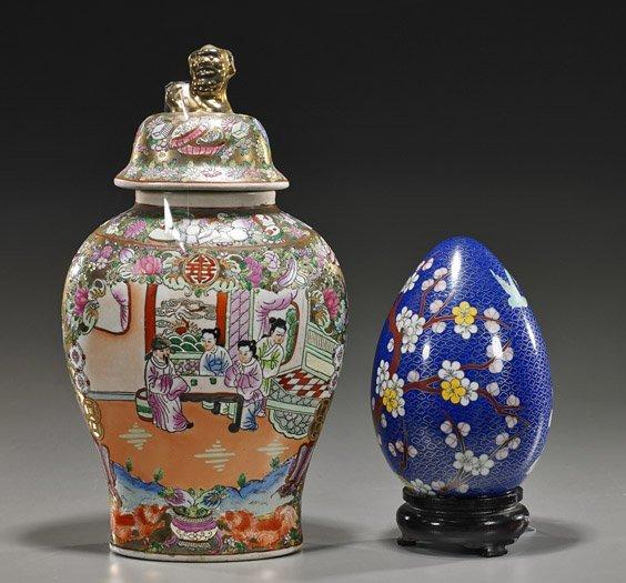 Chinese Cloisonné Egg & Porcelain Jar