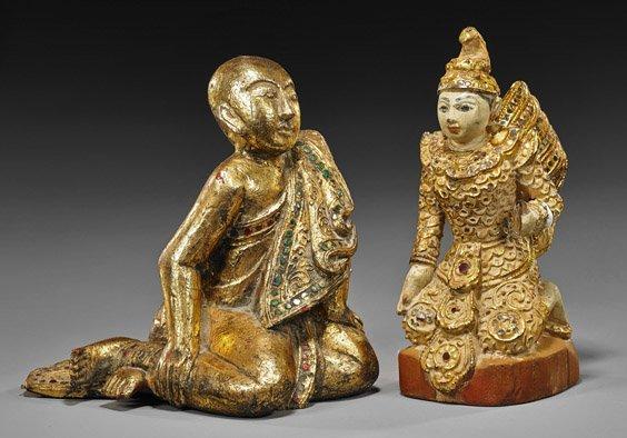 Two Antique Thai Gilt Wood Attendants