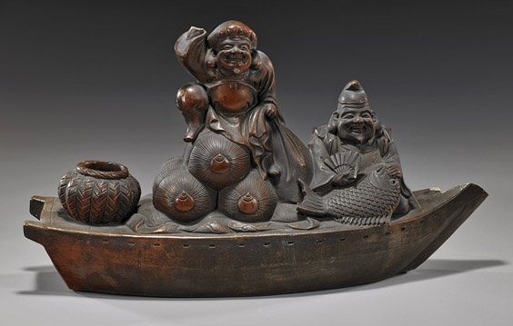 Antique Japanese Pottery Figural Group