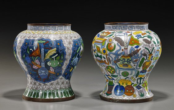 Two Chinese Cloisonné Enamel Jars