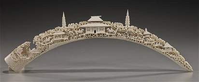 Two Old Chinese Carved Ivory Tusk Bridges