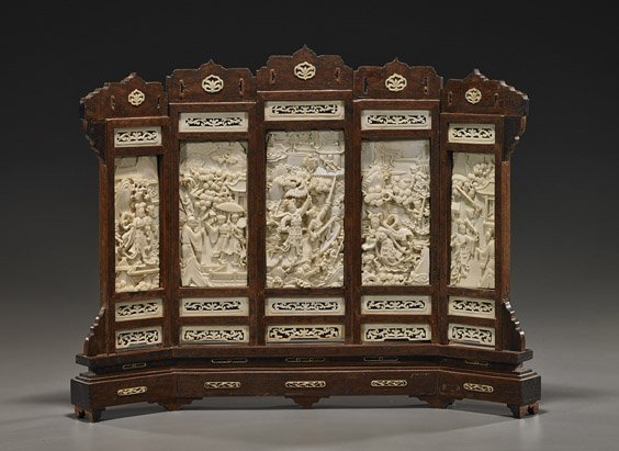 Old Chinese Carved Ivory Tablescreen