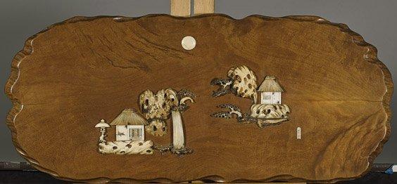 Antique Japanese Ivory Appliqué Wood Panel