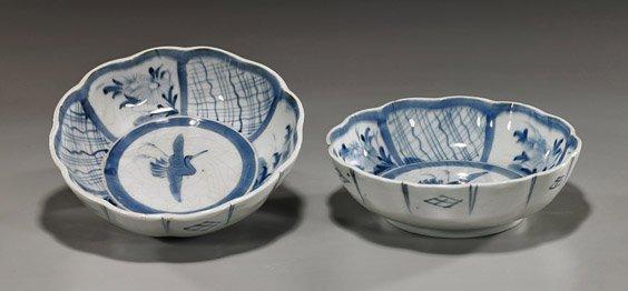 Pair Antique Japanese Arita Porcelain Bowls