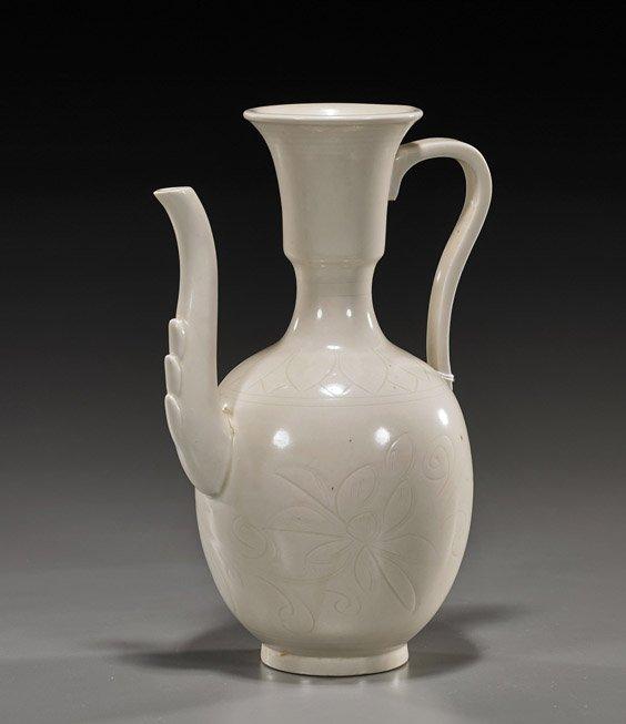 Chinese Ding-Type Glazed Ceramic Ewer
