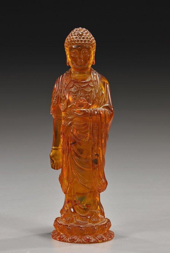 Chinese Amber-Like Standing Buddha