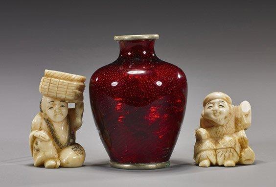 Three Japanese Items: Netsuke & Vase