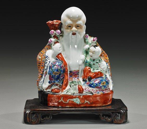 Old Chinese Enameled Porcelain Shoulao