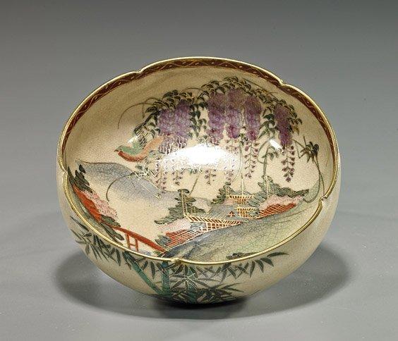 Japanese Satsuma-Style Bowl with Wisteria